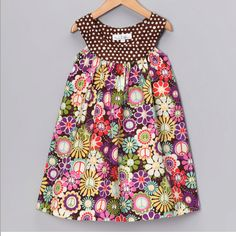 Closet Full of Color, Brown Peace Flower Yoke Dress Little Girl Outfits, Little Girl Dresses, Girls Dresses, Toddler Girl Dresses, Toddler Outfits, Kids Outfits, Toddler Girls, Sewing For Kids, Baby Sewing