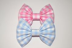 Image of Large Pink and Blue gingham bow