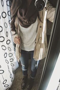 rainy day outfit   fall outfit   comfy   warm   trench coat   combat boots