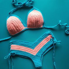 Ganchillo bikini conjunto - Triángulo bikini boyshort superior y descarado partes inferiores - más colores disponibles