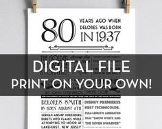 Personalized 80th Birthday Poster 1937 by laurelcovecreative