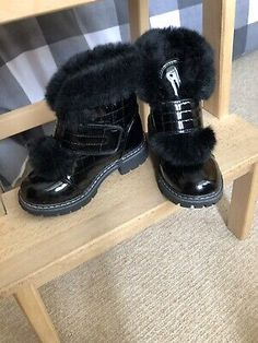 Fur Vinyl Boots For Girls Size EU 28 Worn Only Once Brand New Condition Black. Girls Winter Boots, Bow Boots, Faux Fur Jacket, Party Wear, Kids Girls, Brand New, How To Wear, Ebay, Black
