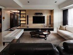 Black and White palette, clean, masculine vibe // modern living room