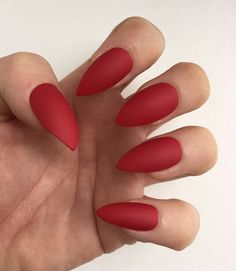 Set of 20 Handmade Red Matte Press On Stiletto Nails Claws | eBay