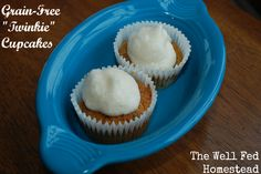 "Grain-Free ""Twinkie"" Cupcakes.  Ingredients: eggs, butter, honey, vanilla, lemon juice, baking soda, salt, coconut flour. #paleotreat"