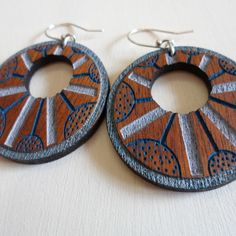 ZingyB | Hello Pretty. Buy design. Wooden Earrings Handpainted Lasercut