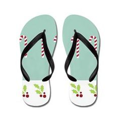 Shoreline Candy Canes Flip Flops> Shoreline Candy Canes> DrapeStudio -  Flip Flops for our Beach Christmases - more fun products with this Christmas holiday design in our shop www.cafepress.com/drapestudio & MORE Christmas gift ideas on our main site www.drapestudio.com and www.etsy.com/shop/drapestudio ALSO fabric by the yard www.spoonflower.com/profiles/drapestudio