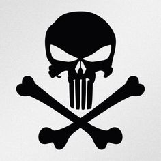 Punisher Skull Crossbones Car Body Window Bumper Vinyl Decal Sticker