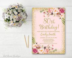 80th Birthday Invitation Any Age Women Birthday by ArtHomeBoutique
