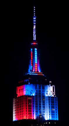 July 4, 2014: The Empire State Building lights dance in flourishes of red, white and blue for Independence Day. #July4th