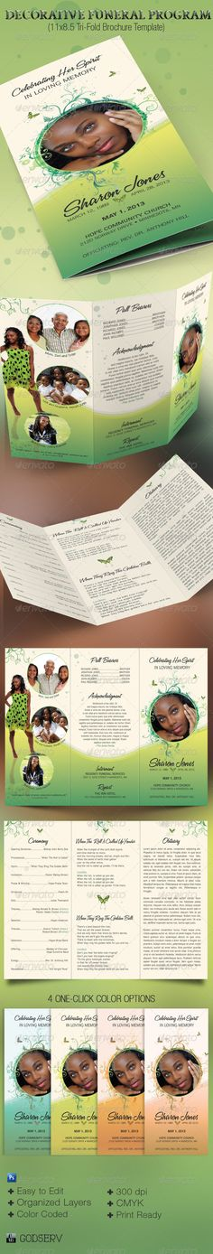 The Decorative Tri-fold Funeral Program Template is for a modern commemorative or home going service. The decorative design with florals and butterflies, lends itself to many other occasions like weddings, baby showers etc. Sold exclusively on graphicriver.net. $8.00