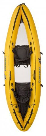 The Conquest Kayak is a two-person, clear-bottomed kayak that inflates in minutes for immediate still-water navigation. Its hull's two sturdy 40-gauge PVC viewing panels allow you to view underwater.