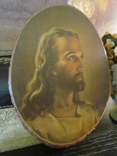 Vintage Religious Art Jesus Wall Plaque Wood by glamtownvintage, $24.00  My grandma and grandpa had something similar to this in their house all my life.