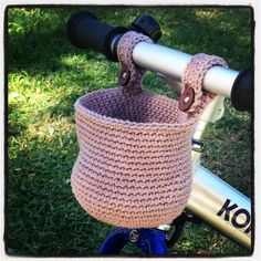 A crochet bike basket.