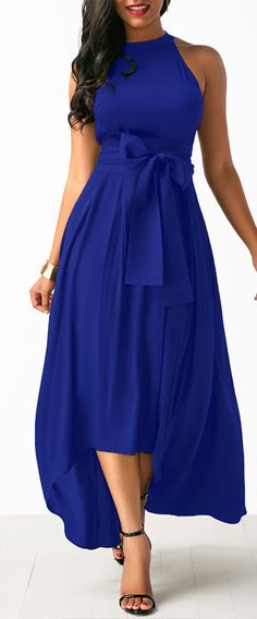 Belted Asymmetric Hem Maxi Dress.