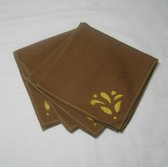 4 Vintage Tea, Luncheon or Bridge Napkins in Brown Cotton with Stenciled Gold Leaf Theme, Circa 1980s, ~by Victorian Wardrobe by VictorianWardrobe on Etsy