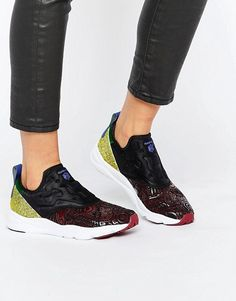 16f145f926cb Reebok Furylite Slip On Sneakers In Multi Print