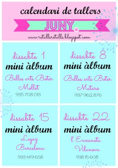 calendari de tallers juny 2013 www.retallsretalls.blogspot.com