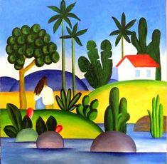 quadro tela - painel idílio - tarsila do amaral - artes visuais - desenho - pintura - escultura