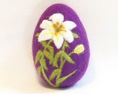 Needle Felted Easter Egg - White and Yellow Lily on Purple Egg
