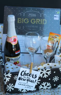 new years eve giftSparkling Cider *wine glasses *noisemakers *fortune cookies *calendar *chocolate kisses *poppers