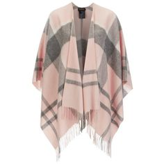 Barbour Women's Tonal Tartan Serape Cape - Pink/Grey ($155) ❤ liked on Polyvore featuring outerwear, pink cape, plaid cape, grey cape, tartan cape and pink cape coat