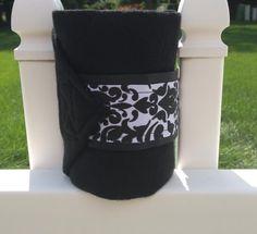 Set of four black and white damask polo wraps. $20, ready to ship!