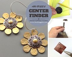 How to make riveted flower earrings with the help of a wood worker's tool
