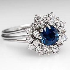 Vintage Sapphire Cocktail Ring w/ Diamonds Floral 14K White Gold