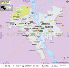 Kiev map (capital of Ukraine) shows major landmarks, tourist places, roads, rails, airports, hotels, restaurants, museums, educational institutes, shopping centers etc