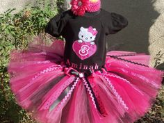#ST Black and Pink Shimmer Birthday Hello Kitty Tutu Set by PoshBabyStore.com    @Shelia Agee  Jayme would just love this! I wonder if memaw could make one if I got the stuff?