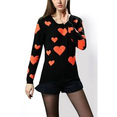 Yoins Yoins Heart Pattern Long Sleeve Knit Jumper ($25) ❤ liked on Polyvore featuring tops, sweaters, black, sweaters & cardigans, knit jumper sweater, knit sweater, jumper top, jumpers sweaters and heart print sweater