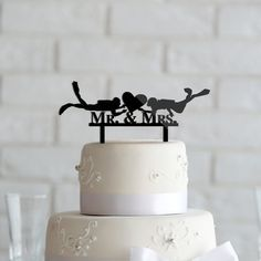 Nautical Scuba Diving Mr And Mrs Wedding Cake Topper Anniversary Acrylic Wreath