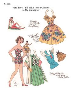 """""""Vera,"""" a paper doll by Lucy Eleanor Leary, #109a Boston Sunday Post 7 July 1950 
