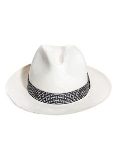 441891aa795 Alexander McQueen Fedora hat Cream straw fedora hat with a black and white  geometric-print ribbon. Alexander McQueen makes Riviera style utterly  modern ...