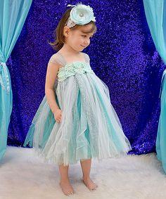 Another great find on #zulily! Aqua & Silver Princess Dress Set - Infant, Toddler & Girls #zulilyfinds