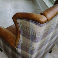 Interesting upholstery: Julius Leather & Wool Wing Armchair from Curiosity Interiors with tartan, tweed fabric. Tartan Chair, Winged Armchair, Chair Upholstery, Wingback Chairs, Armchairs, Wing Chairs, Upholstery Repair, Upholstery Nails, Upholstery Cleaning