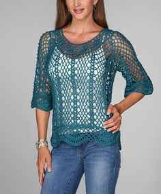 Look at this Blue Crocheted Three-Quarter Sleeve Top - Women on #zulily today!