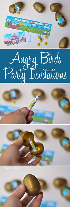unique invitations for your angry birds party, rather than simple invitations use plastic golden eggs to package and deliver the invitation