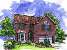 House Plan 57507 | European Plan with 2006 Sq. Ft., 3 Bedrooms, 3 Bathrooms, 2 Car Garage