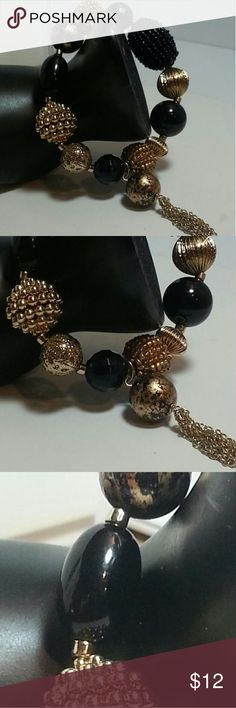 Black and gold ball beads with dangles Stretch bracelet Jewelry Bracelets