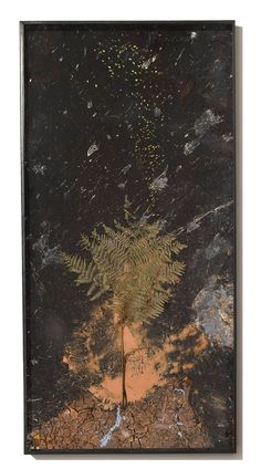 Johannis 2010 Paint, clay, chalk and lead on board with resin gold leafed seeds and fern 280 x 140 cm