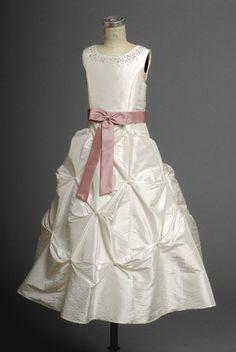 Jewel Dropped Waist Ruched Long Taffeta Ivory Flower Girl Dresses