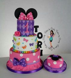 Pink & Purple Polka Dot and Harlequin Minnie Mouse Cake (Tori) Bolo Do Mickey Mouse, Mickey And Minnie Cake, Bolo Minnie, Minnie Mouse Birthday Cakes, Custom Birthday Cakes, Minnie Mouse Party, Birthday Cake Girls, Birthday Fun, Birthday Ideas