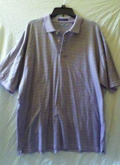 Alan Flusser Golf Polo Mercerized Cotton Shirt Size XL Purple Striped  #AlanFlusserGolf #PoloRugby
