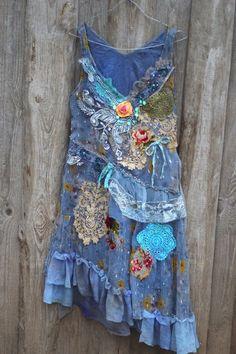 RESERVED The blue dress whimsy bohemian dress door FleursBoheme