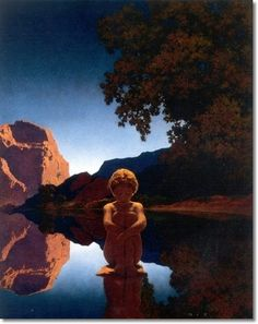 Evening 1921 Life Magazine Cover by Maxfield Parrish.  my all time favorite of his.  spell-binding in person.