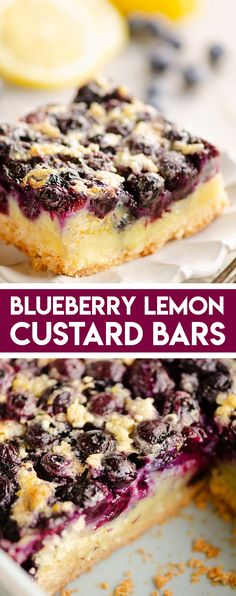 Dessert Recipes 66991113197092831 - Blueberry lemon custard bars are a perfect sweet summer treat! Fresh blueberries are layered over a sugar cookie crust and a rich and creamy custard for an amazing dessert. Source by TheCreativeBite Pudding Desserts, Mini Desserts, Custard Desserts, Summer Dessert Recipes, Lemon Desserts, Lemon Recipes, Easy Desserts, Sweet Recipes, Baking Recipes