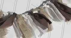 Fall Garland - Thanksgiving Garland - Fabric Rag Tie - Chevron - Baptism - Communion - Wedding - Photo Prop - Fall Decor