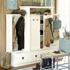 Beadboard Entryway Cabinet with Doors - u can sit in the locker area to take shoes off. Module pieces to customize size